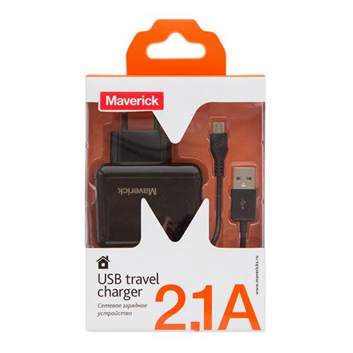Сетевое зарядное устройство Maverick 2USB (2A+1A) + кабель micro USB Black фото