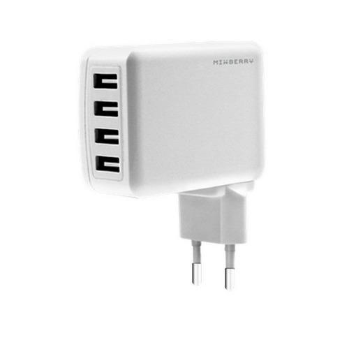 Сетевое зарядное устройство Mixberry Multy Port 4USB 4.8A MWC UL410 White фото