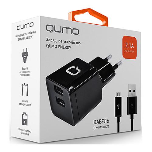 Сетевое зарядное устройство Qumo 2USB 2.1A Black фото